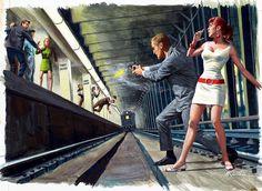Pictures Mort Kunstler Man Underground metro Metro station Girls Pictorial art Men