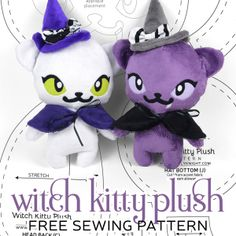 The Halloween craziness continues! While thinking of other spooky-themed projects I realized I hadn't done anything witch-related. A perfect opportunity to dress up a sweet little black cat! Plushie Patterns, Animal Sewing Patterns, Bead Loom Patterns, Doll Patterns, Sewing Toys, Free Sewing, Sewing Crafts, Fabric Crafts, Sewing Projects