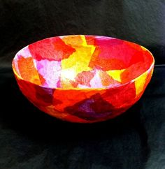 plaster strips and tissue paper bowls