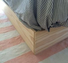 DIY Faux Bed Frame How to make a box spring cover ALSO this is the same home tour where I got the idea. Box Bed Frame, Box Spring Bed Frame, Bed Frame Legs, Box Spring Cover, Bed Frames, Bed Frame Design, Diy Bett, Hidden Bed, Up House