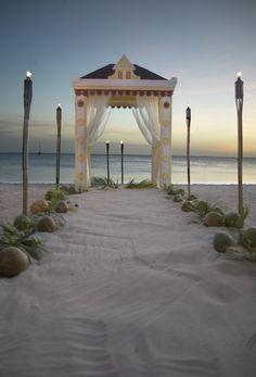 Beach wedding at the Aruba Marriott Resort
