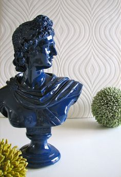 Apollo Bust Statue in Glossy Navy Blue by Mahzer & Vee