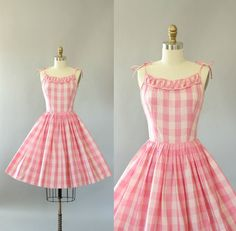 Vintage 50s Dress/ 1950s Cotton Dress/ Teena Paige Pink Checkered Cotton Spaghetti Strap Dress XS