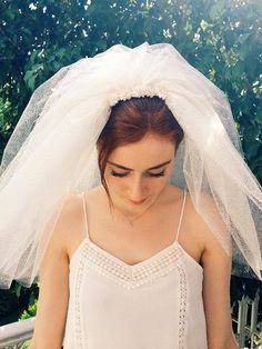 Ivory Bridal Veil Wedding Veil Wedding veil with by SHOERASHOES