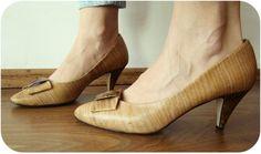 Vintage 80's Real Leather Pump Heels shoes by kickassvintage, $35.00