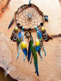Attrape rêves réalisé avec du bois de saule, une opale d'Ethiopie, une breloque salamandre, des perles en argiles, des perles d'apatite et jaspe, des plumes de perroquet, de pao - 15903433