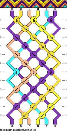 friendship bracelets 6 Strands, 3 Colors, 2 ea - - Made A=lt lime, B= purple, C=lime Diamond Friendship Bracelet, String Friendship Bracelets, Diy Friendship Bracelets Patterns, Friendship Crafts, Yarn Bracelets, Embroidery Bracelets, Bracelet Crafts, String Bracelets, Peyote Bracelet