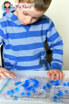 Fine motor: Hair gel and beads sensory bag.
