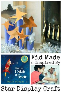 kid made star display to go along with How to Catch a Star by Oliver Jeffers. This works great as a Christmas decoration