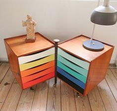 Colourful storage cart by Finn Juhl