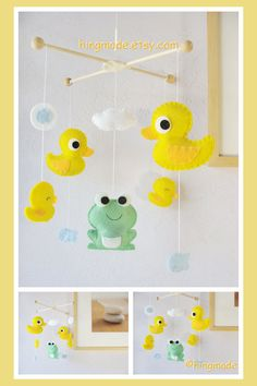 Baby Mobile - Baby Crib Mobile - Duck family and Mr. Frog in the pond (You can pick your colors) on Etsy, $82.00