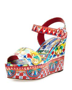 Dolce & Gabbana Carretto-Print Wedge Sandal, Multi $950