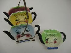 Vintage Retro Set of Tea Pot Teabag Holders made in by OneReDunn