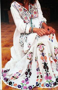 Floral Embroidered Maxi Folk Dress.