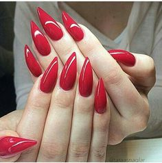 60 Most Gorgeous and Stunning 💗 Red Nails Arts (Acrylic nails, Matte Nails) - Nail Design - Page 20 of 58 - Diaror Diary Red Stiletto Nails, Sexy Nails, Prom Nails, Trendy Nails, Long Nails, Red Manicure, Red Nail Art, Red Acrylic Nails, Matte Nails