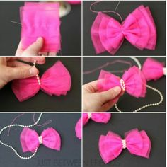 Cute and Easy Valentine Hair Bow Tutorial - Bakerette Tulle Hair Bow Tutorial--I have so much leftover tulle from that skirt I made! Valentine Hair Bow Tutorial by Jonie at Just-Between-Friends. Pinwheel bow or clip - Salvabrani Diy Ribbon, Ribbon Crafts, Ribbon Bows, Ribbon Flower, Ribbon Hair, Tulle Crafts, Hair Ribbons, Diy Crafts, Tulle Hair Bows