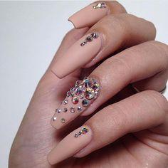 <3 @benitathediva Beige coffin acrylic nails with swarovski crystal nail design