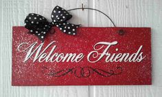 Valentine's Day Sign with glitter  Welcome by DiamondDustDesigns, $10.00