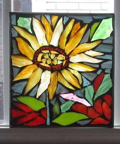 Mosaic  Suncatcher Flowers   ,-  Stained Glass SunCatcher or wall Decoration. $28.00, via Etsy.