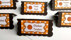 Basketball Theme Food Tents - Menu Cards - Place Cards - Food Signs - Basketball Party & Shower Decorations in Orange and Brown (6)