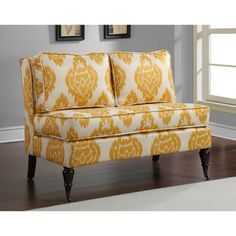 Cassidy French Yellow/ Cream Ikat Loveseatmy living room is grey and yellow themed.. this would look fantastic!