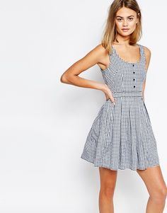 Jack Wills Gingham Print Button Front Dress