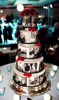 wedding cake with couples engagement photos. Would want the pictures to have a rustic looking effect on them to match the theme ! :)