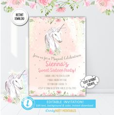Unicorn Birthday Invitation, Sweet Sixteen Party Invite, Unicorn Floral Birthday Invite, Unicorn Party Printable, Templett, Instant Download by iCandyPartyPrintable on Etsy