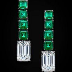 High jewellery emerald cut white diamond and emerald earrings #Craftsmanship #deGRISOGONO