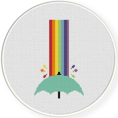 FREE for October 2nd 2015 Only - Rainbow Shower With Umbrella Cross Stitch Pattern