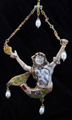 Merman Pearl Jewel by Bar-Jan Jewelry: Merman was created this year (2012) by jeweler Barry Barash.  The Merman is of jeweler's silver, gold plated and enameled.   He is 7 inches tall from ring