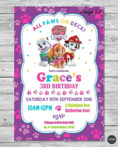 PAW PATROL GIRL INVITATION INVITE BIRTHDAY PARTY CARD PERSONALISED PINK SKYE   #CUSTOMINVITATION #Birthday