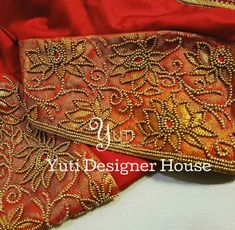Bridal blouse embroidery by YUTI! For Orders and Queries reach us at or Address: 28 Moosa Street, TNagar. Hand Work Blouse Design, Blouse Designs Silk, Stylish Blouse Design, Designer Blouse Patterns, Bridal Blouse Designs, Zardosi Embroidery, Hand Work Embroidery, Hand Embroidery Designs, Beaded Embroidery