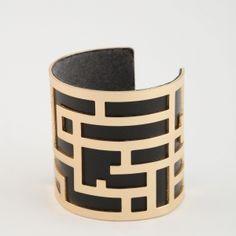 bracelet manchette pu et metal geometrique