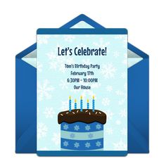 Customizable, free Winter Birthday Cake online invitations. Easy to personalize and send for a winter birthday party. #punchbowl