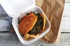A collard sandwich is one of backyard ingredients represents the heritage and homeland of a North Carolina Tribe.