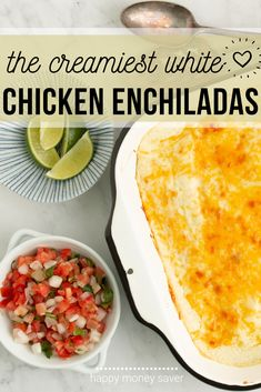 Make these Creamy Chicken Enchiladas with white sauce with just a few ingredients! These will be the most creamy, melty enchiladas you've ever made! Chicken Freezer Meals, Freezer Friendly Meals, Healthy Freezer Meals, Make Ahead Meals, Quick Meals, Chicken Recipes, Mexican Food Recipes, Real Food Recipes, Healthy Recipes