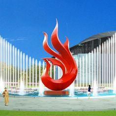 Red birds stainless steel sculpture