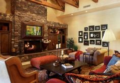 I love how the TV is framed above the fireplace.