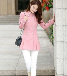 2015 mulheres de inverno roupas cor sólida plissado dupla Breasted ocasional de lã casaco de Cashmere Plus Size Jacket 3 cores em Lã e Mesclas de Roupas e Acessórios Femininos no AliExpress.com   Alibaba Group