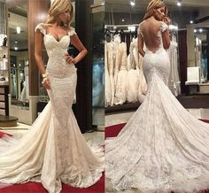 2017 New Sexy Cheap Mermaid Wedding Dresses Full Lace Sweetheart Cap Sleeves Court Train Sheer Open Back Plus Size Formal Bridal Dress Mermaid Wedding Dress Lace Wedding Dress 2017 Wedding Dress Online with $192.58/Piece on Yes_mrs's Store | DHgate.com