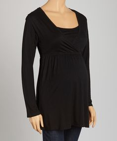 Look at this Black Layered Maternity Surplice Top on #zulily today!