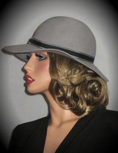 LADY KANGOL Light Grey Vintage Brimmed Hat by AllThatJazzDesign 0f718de75998