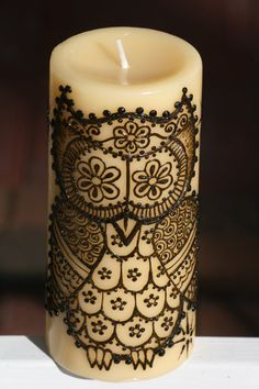 I'm loving this image as a tattoo! Henna Candle with a cute Henna Owl and Stars by RedwoodHenna, $25.00