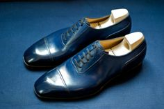 Model 115, chiseled last, hand stained blue crust calf leather