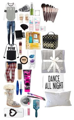 """Girl Scout sleep over itmes"" by makia115 ❤ liked on Polyvore featuring AG Adriano Goldschmied, Victoria's Secret PINK, maurices, Muk Luks, Zero Gravity, Topshop, Isotoner, Free People, New Directions and Maybelline"