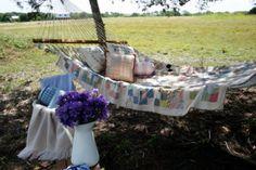 Put quilt on hammock at cabin? Bring back home for backyard? Cedar Hill Farmhouse