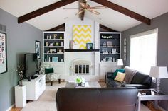 Reader Redesign: The White Stuff | Young House Love  great redo of the old brick fireplace!