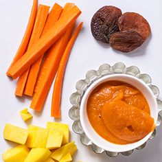 6-12 month baby purées. Carrot + Mango + Apricot Puree and many other ideas.