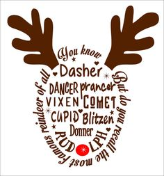 Reindeer SVG File PDF / dxf / jpg / png / eps /Studio 3 Reindeer Names SVG File for Cameo electronic cutters Sign Shirt Decal Christmas Deer by TheLazyIdesigns on Etsy Christmas Vinyl, Christmas Projects, Xmas, Christmas Sayings, Reindeer Christmas, Reindeer Run, Christmas Shirts For Kids, Silhouette Cameo Projects, Silhouette Design